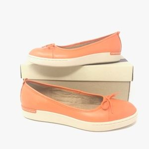Clarks 7M Cordella Alto Orange Leather Flats Bow